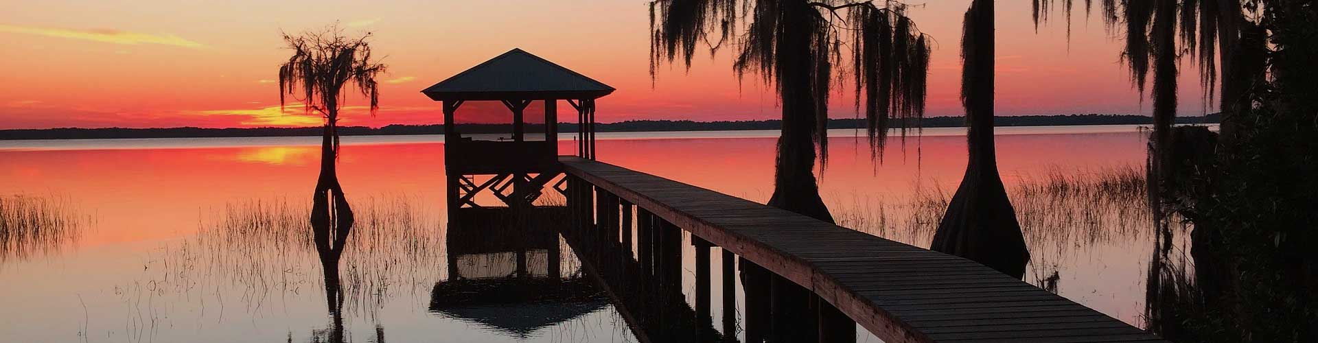 Florida lake sunset dock